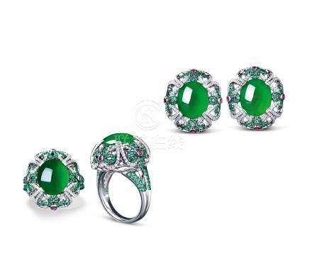 天然缅甸翡翠配钻石配祖母绿及红宝石及钻石耳环戒指套装