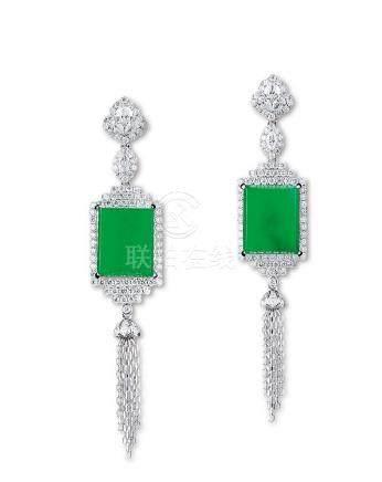 天然缅甸正阳绿翡翠配钻石耳环