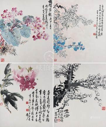 劉伯年  花卉十開