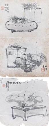 李尹桑  清供圖三幅