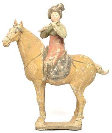唐 灰陶加彩騎馬樂俑 (附KOTALLA LABORATORY鑑證證書 編號 01R090618)