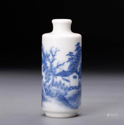 CHINESE BLUE WHITE LANDSCAPE SNUFF BOTTLE