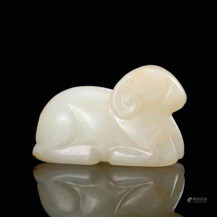 CHINESE WHITE JADE RECUMBENT SHEEP