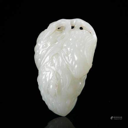 CHINESE WHITE JADE CARVED MELON