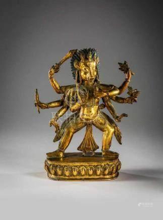Achtarmige Buddhafigur.Bronzeguß mit feiner Vergoldung. Stehender Figur mit acht Armen, die Hände