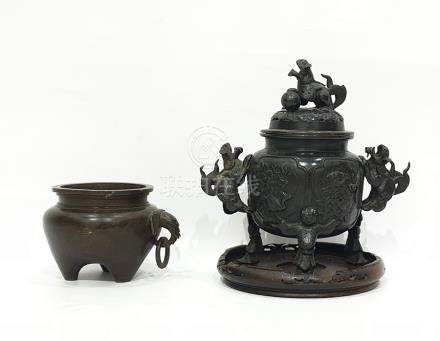Chinese bronze censer, of circular form, decorated with landscape panels, with pierced cover, the