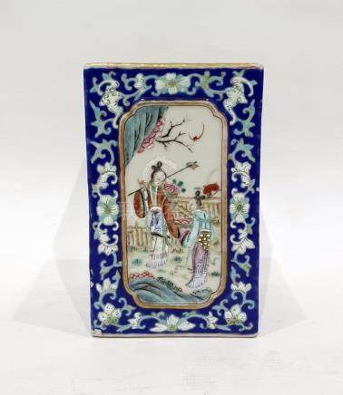 Chinese porcelain vase of square form, each side decorated with panels of figures conversing or