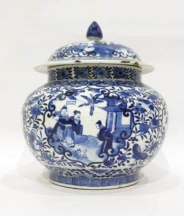 Antique Chinese porcelain vase and cover, bulbous with shaped panels of figures in gardens, birds