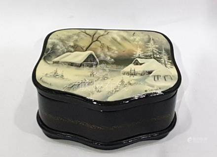 Russian Fedoskino decorated lacquer box, the lid depicting wintry scene, signed 'Snezhkova(?)', 13cm