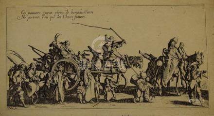 Jacques CALLOT (1592 - 1635)  Les Bohémiens en marche : l'Arrière-garde, planch