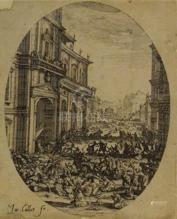 Jacques CALLOT (1592 - 1635)  Le Massacre des Innocents.  Eau-forte. Belle épre