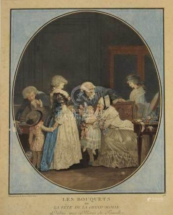 Philibert - Louis DEBUCOURT (1755 - 1832) Les Bouquets ou la Fête de la grand-m