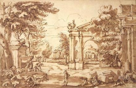Attribué à Jean LEMAIRE dit LEMAIRE-POUSSIN  Paysage classique animé   Plume et