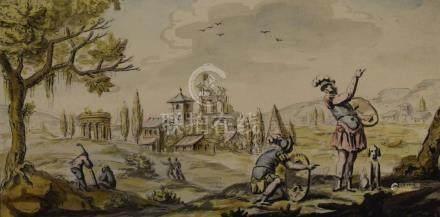 ECOLE ITALIENNE du XVIIIe siècle  Paysage aux ruines antiques et deux guerr
