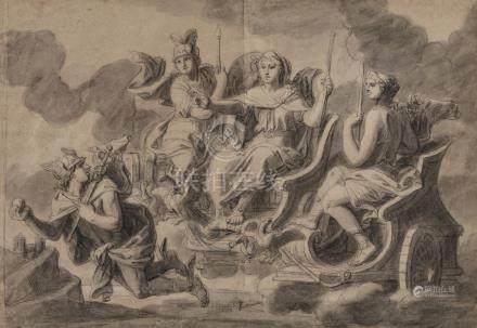 VERDIER François  Paris 1651-1730  Junon chargeant Mercure d'une miss