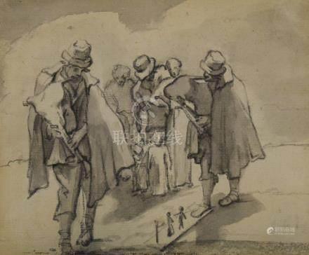 ECOLE du Nord Fin du XVIIe siècle  Deux joueurs de cornemuse.  L'un action