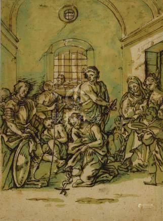 ECOLE ITALIENNE du XVIIIe siècle  La décollation de St Jean Baptiste. Plume,