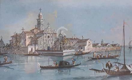 GUARDI Giacomo Venise 1764 - id. ; 1835  Vue de San Clemente sur l'île du lazza
