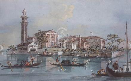 GUARDI Giacomo Venise 1764 - id. ; 1835  Vue de San Giorgio in Alga (ou Allega)