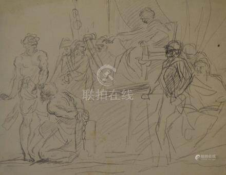 ECOLE ROMAINE Première moitié du XVIIIe siècle  Personnage enchaîné au pied d'