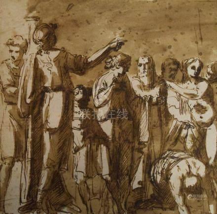GIANI Felice (attribué à)  Gênes 1760 - Rome 1823  Assemblée de person