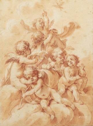 Ecole française du XVIIIème siècleUne paire de PuttiSanguineL'un signé dans le