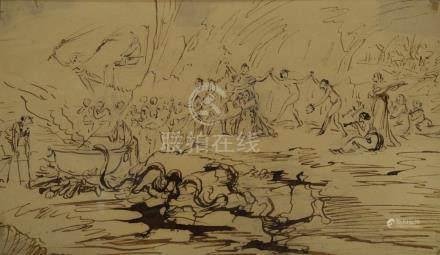 ECOLE FRANCAISE du milieu du XVIIIe siècle    La tentation de Saint Antoine