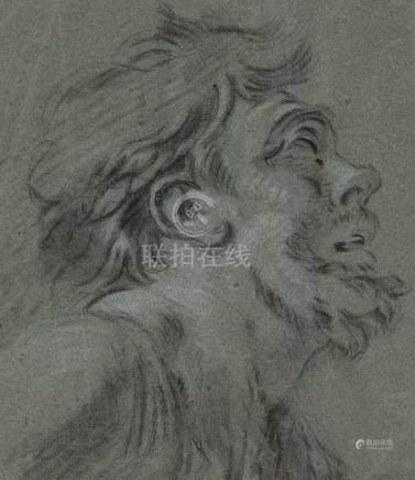 HUET Jean-Baptiste (attribué à) Paris 1745-1811   Homme de profil, la t