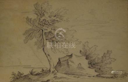 ECOLE FRANCAISE du XVIIIe siècle  1 - Etude d'arbres et de rochers  Pierre noir