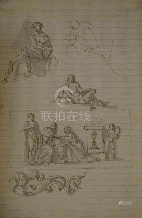 ECOLE FRANCAISE Fin du XVIIIe siècle  Feuille d'étude double face : homm