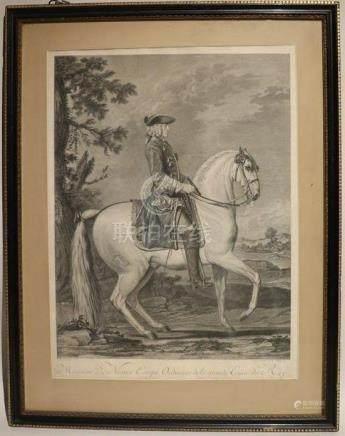 Jean DAULLE (1703-1763) d'après DELARUE en 1751.  Monsieur De Nestier Ecuyer Or