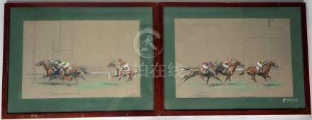 Eugène PECHAUBES (1890-1967). Les courses. Deux estampes rehaussées de gouache