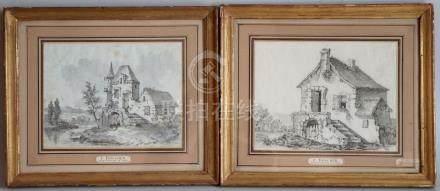 Ecole française du XVIIIème siècle. Chaumières. Paire de dessins au lavis d'enc