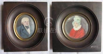Jean-Baptiste GENTY (c.1770-ap.1813), attribué à. Portraits de Monsieur et Mada