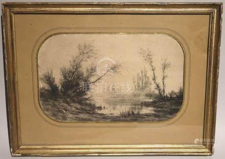 Auguste ALLONGE (1833-1898). Paysage lacustre. Dessin au crayon, signé en bas à