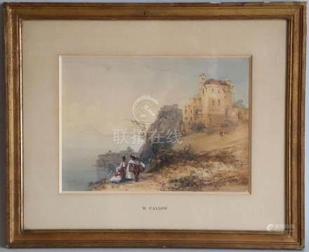 William CALLOW (1812-1908). Famille des environs de Naples sur la corniche. A