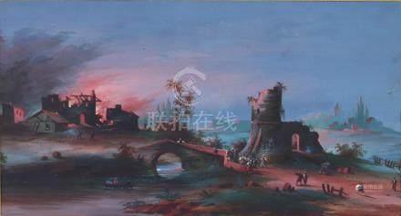 L. BAQUET, XIXème siècle. Maison en flammes, au fond d'un paysage de ruines. Go