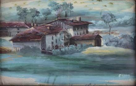 L. BAQUET, XIXème siècle. Fermes dans la campagne italienne. Miniature gouachée
