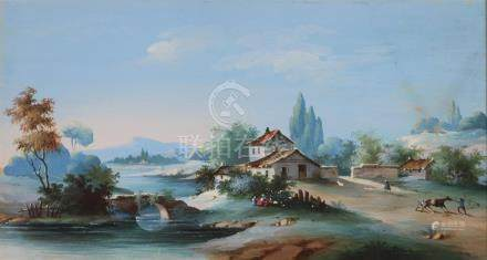 L. BAQUET, XIXème siècle. Ferme au bord de l'eau , paysage de montagnes. Gouach