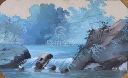 L. BAQUET, XIXème siècle. Cours d'eau et cascade. Miniature gouachée. H_6.1 cm
