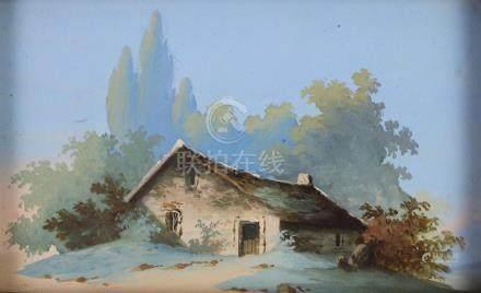 L. BAQUET, XIXème siècle. Maison dans un paysage arboré. Miniature gouachée. H_