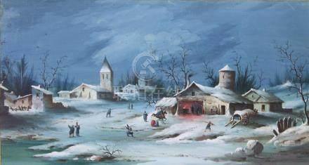 L. BAQUET, XIXème siècle. Scène de guerre en hiver. Gouache sur papier signée e