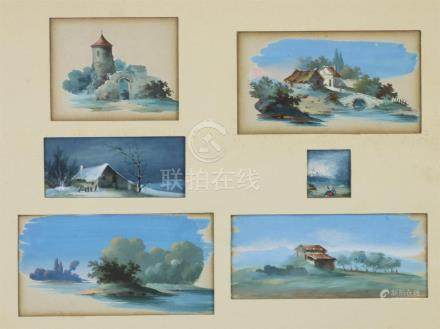 L. BAQUET, XIXème siècle. Paysages et constructions. Ensemble de six miniatures