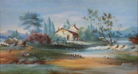 L. BAQUET, XIXème siècle. Paysans près d'une ferme. Gouache sur papier signée e