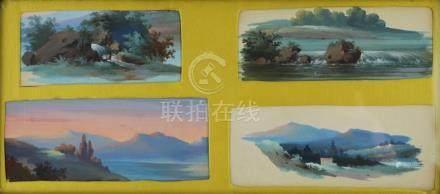 L. BAQUET, XIXème siècle. Paysages. Ensemble de quatre miniatures gouachées dan
