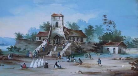 L. BAQUET, XIXème siècle. Procession religieuse. Gouache sur papier signée en b