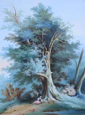 L. BAQUET, XIXème siècle. Femme allongée au pied d'un arbre. Gouache sur papier