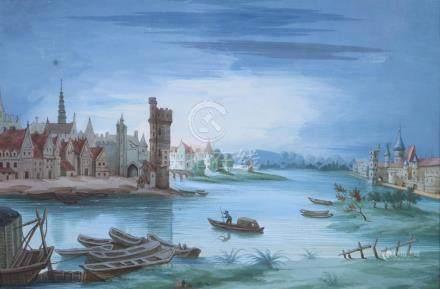 L. BAQUET, XIXème siècle. Village au bord d'un fleuve. Gouache sur papier signé