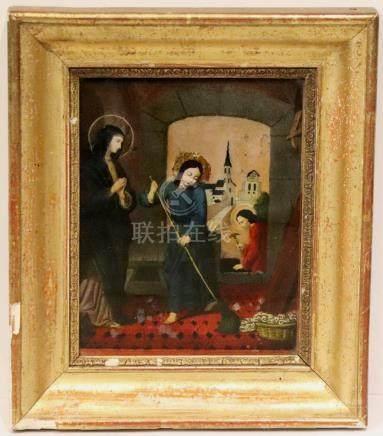 Ecole française du XIXème siècle. L'éducation du Christ, fixé sous verre. H_23,