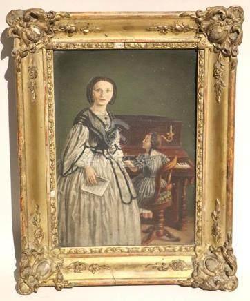 Ecole française du XIXème siècle. La jeune pianiste. Huile sur carton. H_26,4cm